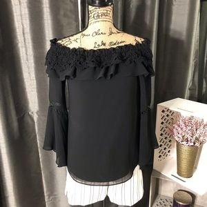 White House Black Market Tops - WHBM Off the Shoulder Ruffle Trim Bell Sleeve Top
